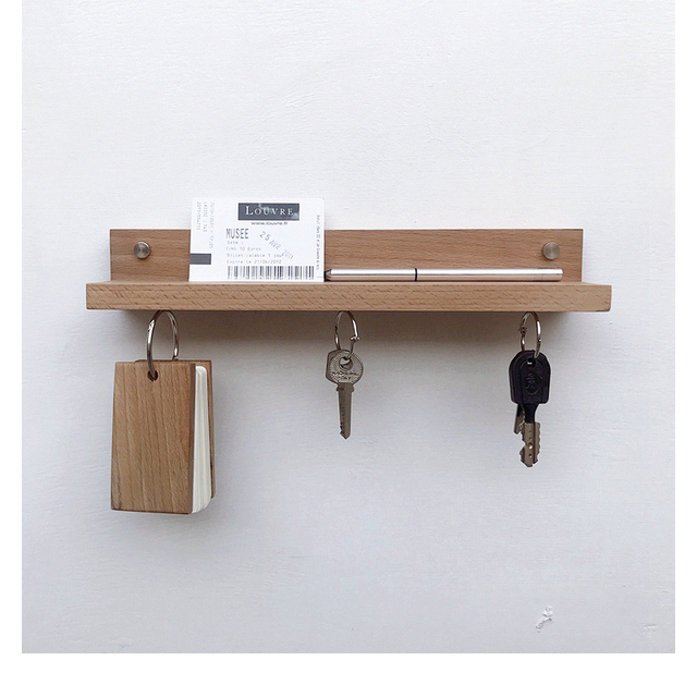 Floating Wall Mounted Storage Shelf Magnetic Key Rack Natural Walnut Wood Hook Hanger