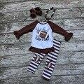 Futebol das meninas roupa do bebê roupas meninas Estão prontos hoje é dia de jogo roupas meninas tarja futebol conjuntos de calça com accessoreis