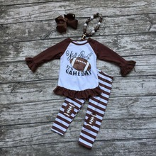girls football outfit clothing baby girls Y'all ready it's game day clothing girls football stripe pant sets with accessoreis
