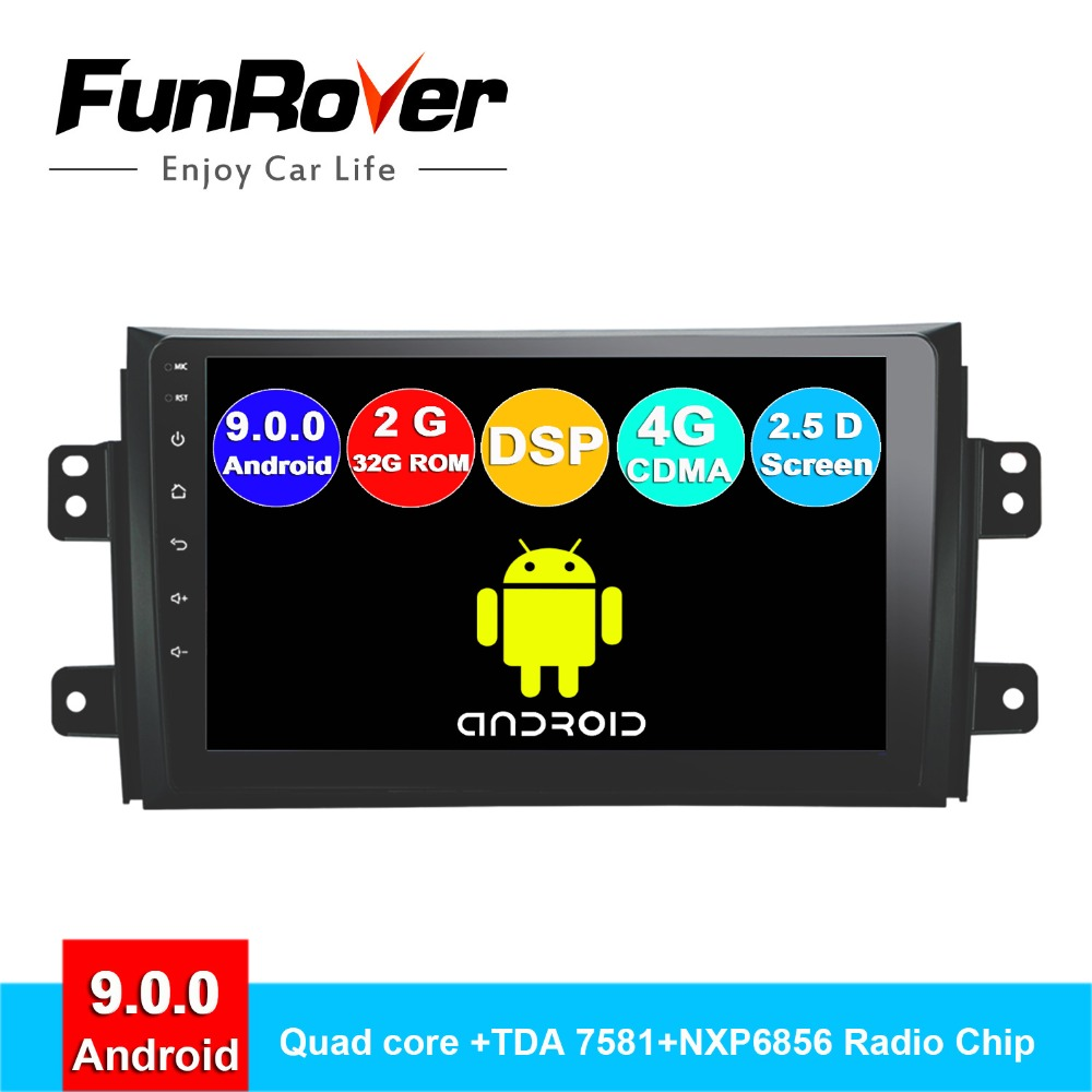"FUNROVER 2G RAM 9"" android 9.0 car dvd multimedia player navigation gps For Suzuki SX4 2006-2013 2 din car radio vedio audio DSP"