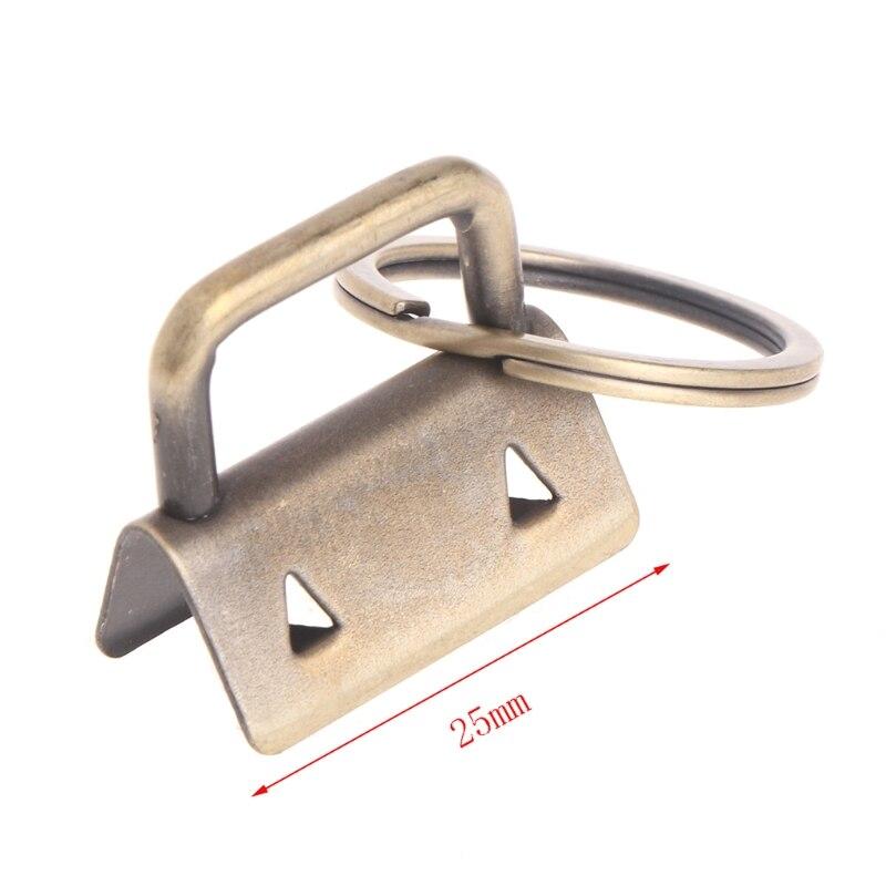 OOTDTY New Key Fob Hardware 25mm Keychain Split Ring For Wrist Wristlets Cotton Tail Clip 10Pcs