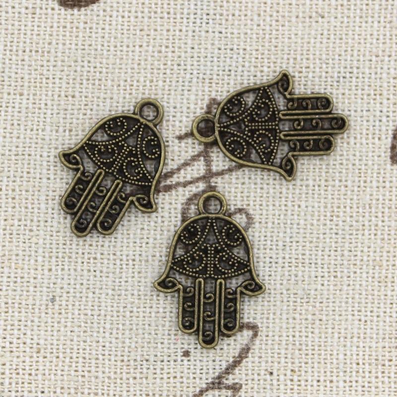30pcs Charms Hamsa Palm Protection 20x15mm Handmade Pendant Making fit,Vintage TibetanBronze,DIY For Necklace 2