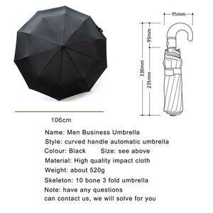 Image 3 - Мужской кожаный Зонт с изогнутой ручкой, Автоматический ветрозащитный черный большой зонт от дождя