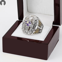 Factory Sales Wooden Boxes With 2012 Baltimore Ravens Replica Super Bowl Copper Championship Ring For Fans