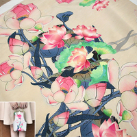 50x140cm Piece Ink Pink Lotus High Quality Manual Handmade Silk Fabric Cloth For Bag Pillow Cover