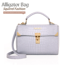 Squirrel fashion alligator PU solid elegant youth lady's cross-body messenger bag vogue business women classic casual girls tote