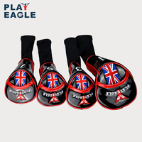 PLAYEAGLE 4pcs/set PU Leather Wood Driver Headcover Farway Hybrid Wooden Golf Club Head Cover With Long Neck Embroidery Logo