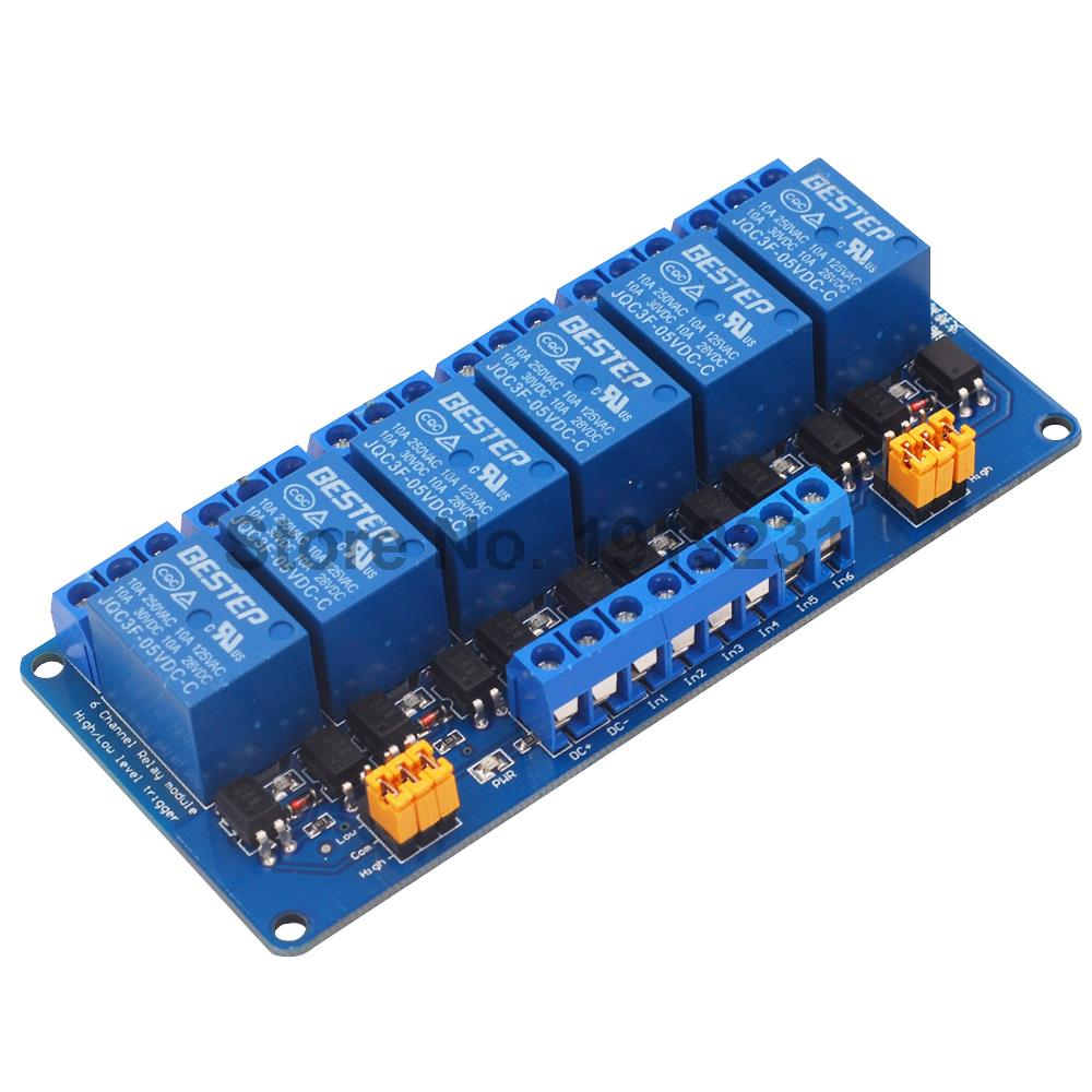 цена на 1PCS 5V 6 Channel Relay Module High and low Level Trigger 5V Relay Module