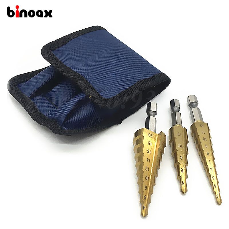 Binoax 3pcs Step Drill Bit Set Superior Titanium Coated High Speed Steel Step dril Set With Pouch best promotion 10pcs set diamond holesaw 3 50mm drill bit set tile ceramic porcelain marble glass top quality