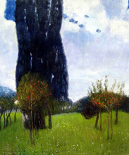Landscape Tree Painting, The Poplar Trees II Gustav Klmit's Oil Reproductions, Wall Art Canvas, Original Quality