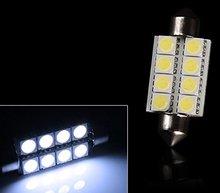 販売 10 個 42 ミリメートル 8SMD 6500 18K 車室内灯花綱 Led インテリア地図ドームのドアライト電球 211  2 578 色ホワイト