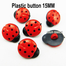 100PCS 15MM red Dyed Plastic Ladybird buttons coat boots sewing clothes accessories P-122-10