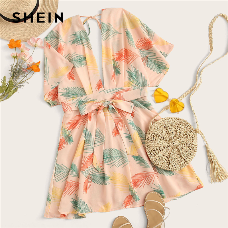 SHEIN Plunge Neck Tied Open Back Tropical Dress Deep V Neck Fit and Flare Women Dresses 2019 Short Sleeve Summer Dress in Dresses from Women 39 s Clothing