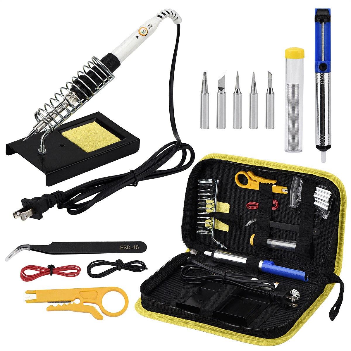 Electric soldering iron set adjustable temperature portable welding repair tool tweezers tin wire soldering iron suction gun set