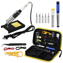 Electric soldering iron set adjustable temperature portable welding repair tool tweezers tin wire soldering iron suction gun set 1 piece lot high power 200w nickel chromium wire heater electric soldering iron temperature repair welding iron tools lt200