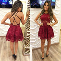 Charming 2016 New Summer Sexy Backless Burgundy Mini Short Lace A-line Cocktail Dresses Party Dress robe de cocktail