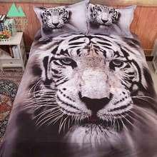 WAZIR edredon 3D printing White tiger bedding set Home textiles duvet cover pillowcase bed sheet bedroom textile bedclothes