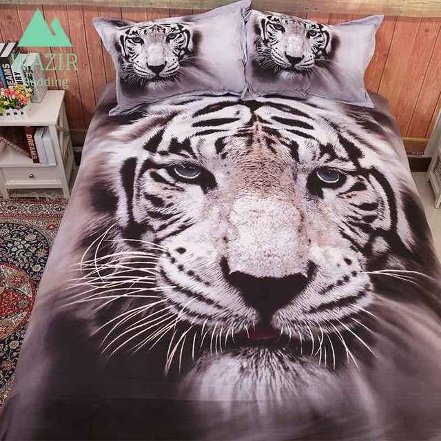 WAZIR edredon 3D printing White tiger bedding set Home textiles ...