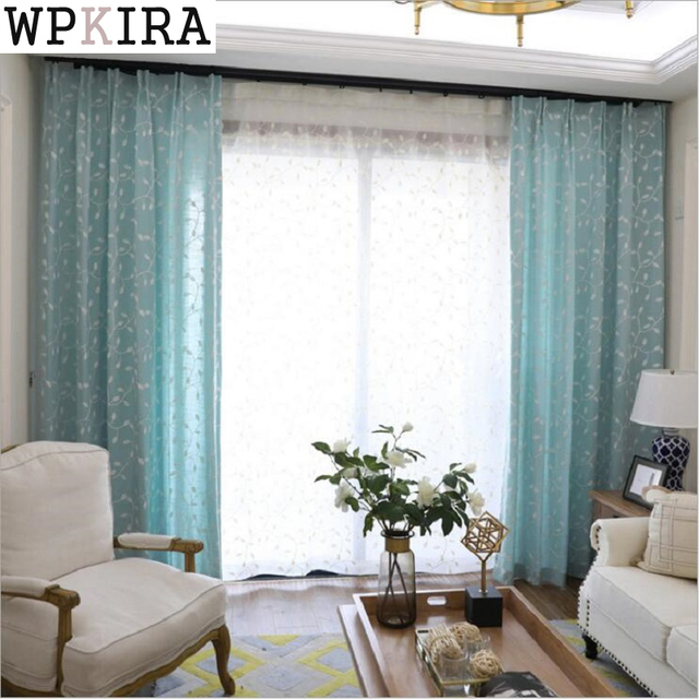 Moda Moderna Floral Tulle Sala Drape Valances Ventana Blanco Azul Cortina  Dormitorio Moderno Cortinas 313 Y