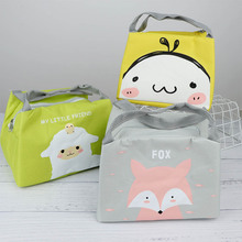 1Pc Food Storage Bags Picnic Lunch Bag Portable Cartoon Animal Printed Travel  Tote Thermal Insulation Container School