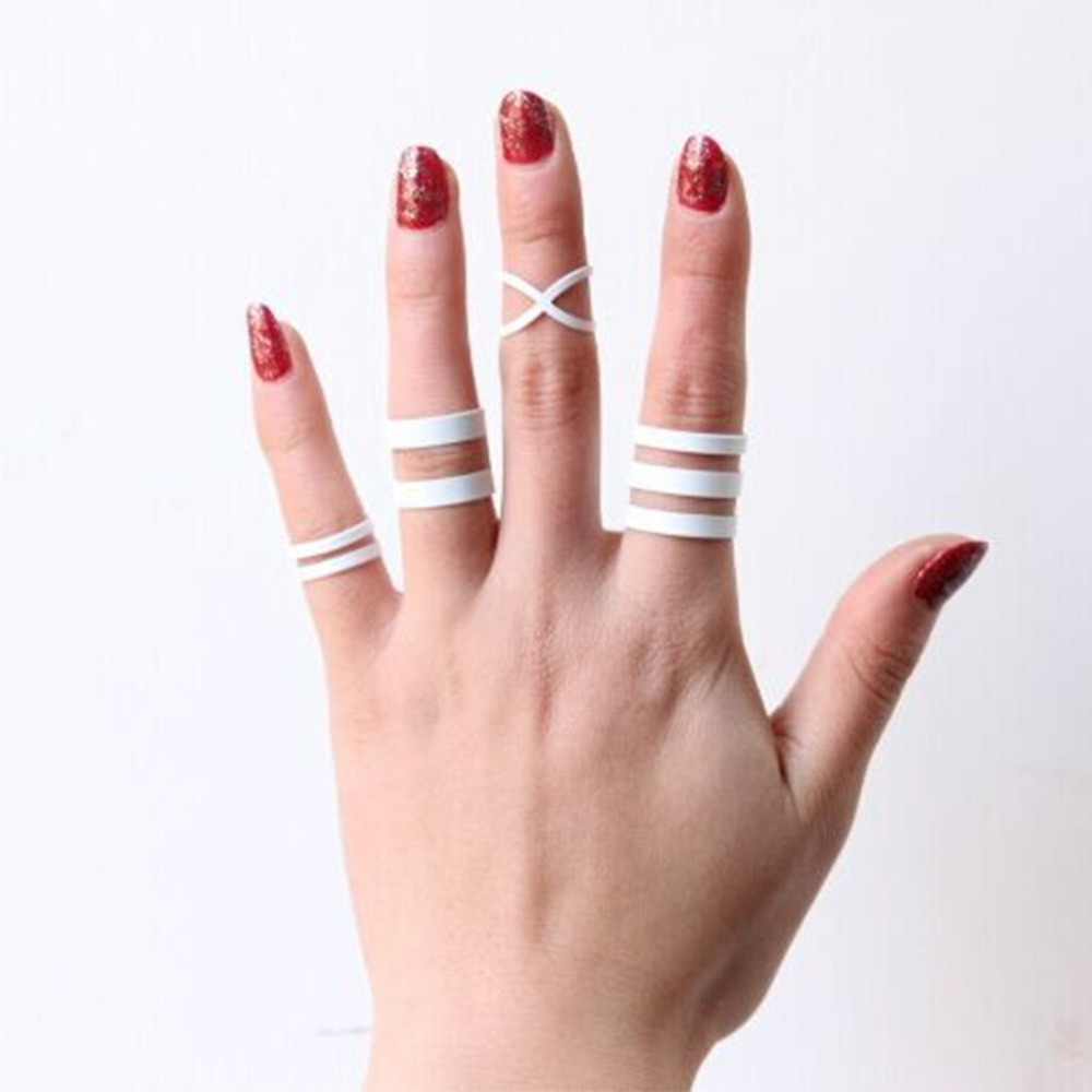 40 pieces/set Midi Knuckle Rings Set White Metal Multilayer Hollow Cross Open Ring Adjustable Women Punk Finger Jewelry