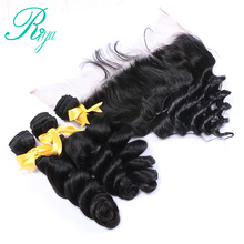 Peruvian Loose Wave 3 Bundles With Frontal Closure Remy Human Hair Weave Pre Plucked Lace Frontal Closure With Bundles Riya Hair