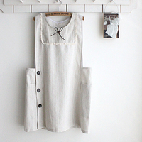 Cotton Linen Apron Wheat White Color Lace & Bow Decoration Aprons Japanese Style Girl Style Side Button Kitchen Cooking Clothes