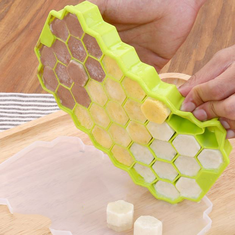 Hot sale Silicone ice trays with lid honeycomb shaped DIY ice cube molds jelly molds