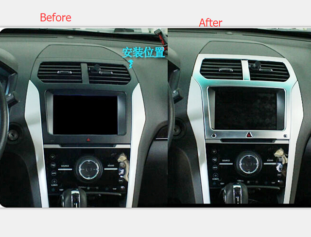 ABS Interior Centre Console Navigation GPS Frame Cover For Ford Explorer  2011 2015
