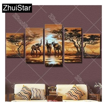 diy 5pcs/set mosaic full diamond embroidery elephant animals painting cross stitch square drill multi-pictures XSH