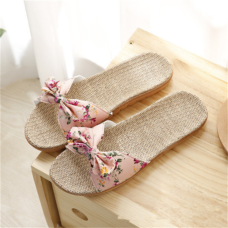 Suihyung Women' Linen slippers Fashion Deisgn Floral Bowknot Flat Slippers Comfortable Home Slippers Indoor Shoes Beach Slippers