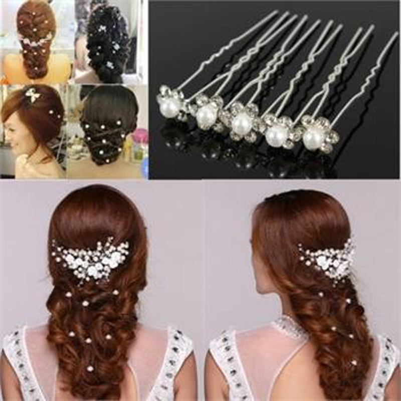 20pcs crystal clips for hair pins rhinestone clips white pearl hair jewelry accessories bridal wedding pearl flower hair clip in women s hair accessories