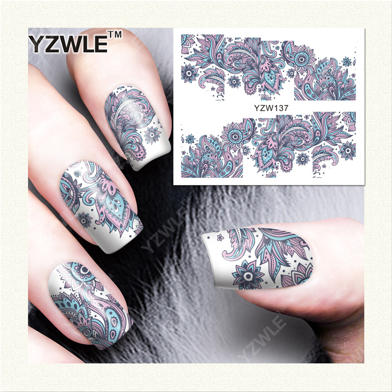 YZWLE 1 Sheet DIY Decals Nails Art Water Transfer Printing Stickers Accessories For Manicure Salon (YZW-137) yzwle 1 sheet hot gold 3d nail art stickers diy nail decorations decals foils wraps manicure styling tools yzw 6015