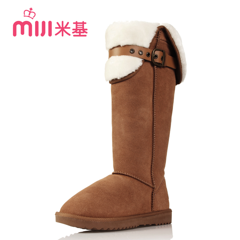 New 2013 Leather Boots Women'S Winter Snow Boots Female Belt Buckle Knight Knee High Boots For Women Free Shipping H1110