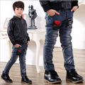 2017 Spring Children Jeans Boys Red Heart Jeans Pants Light Wash Boys Jeans for Boys Casual Elastic Waist Children's Jeans P243