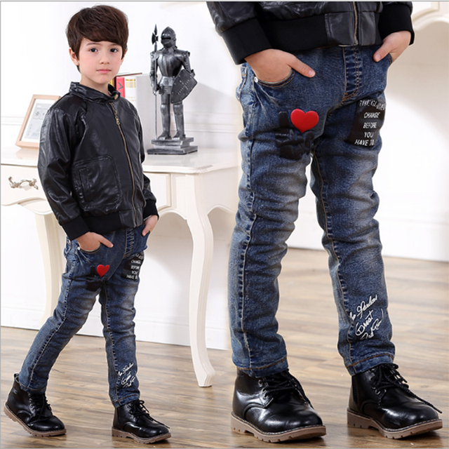 7bdc5bbaa 2017 Spring Children Jeans Boys Red Heart Jeans Pants Light Wash Boys Jeans  for Boys Casual