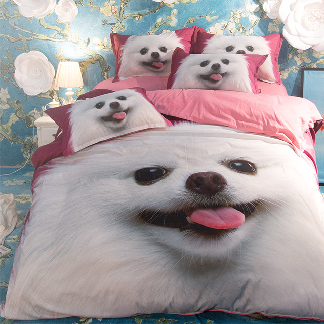 Home Bed Set3D Bedding Set Cute Dog Bed Linens 3pcs/4pcs Kids Bedclothes 3D  Printed