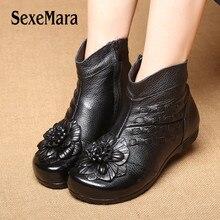 купить SexeMara Retro Luxury Women Plush Warmful Winter Boots Low Platform Ankle Woman Snow Boots Slip On Women Leather Shoes Size 41 по цене 2258.39 рублей