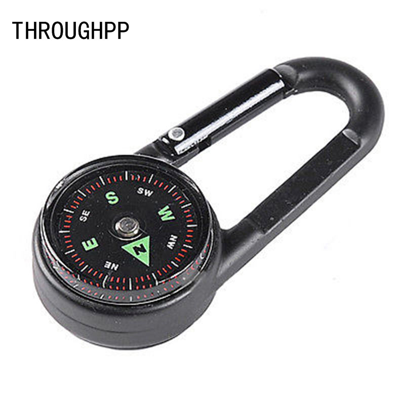 1x Multifunctional Hiking Metal Carabiner Mini Compass Thermometer Keychain Gift