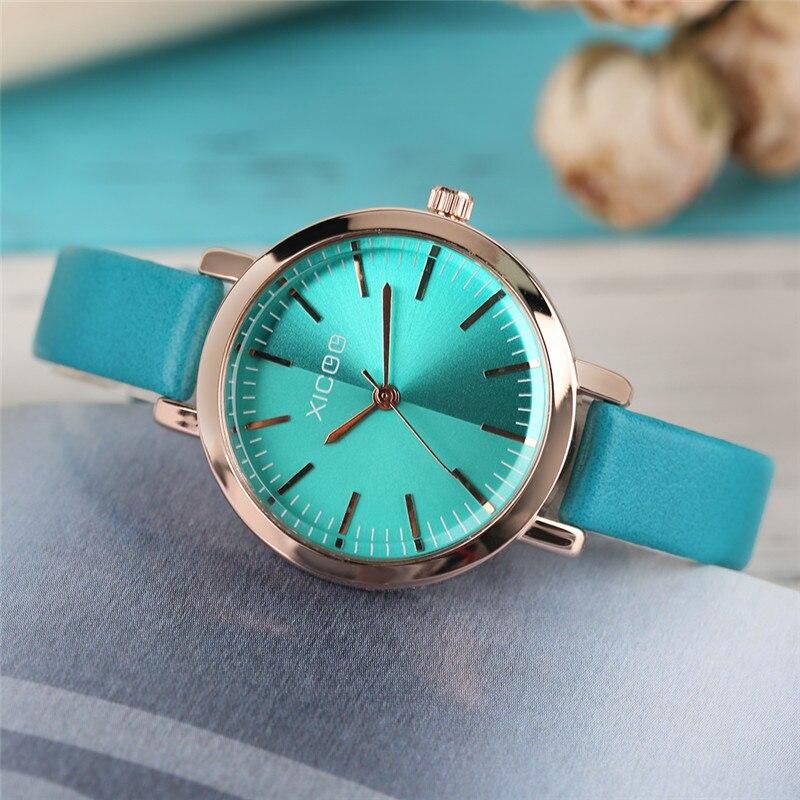 XICOO Zarif kadın Bilezik Saatler Mavi / Yeşil Basit Deri Band - Kadın Saatler - Fotoğraf 2