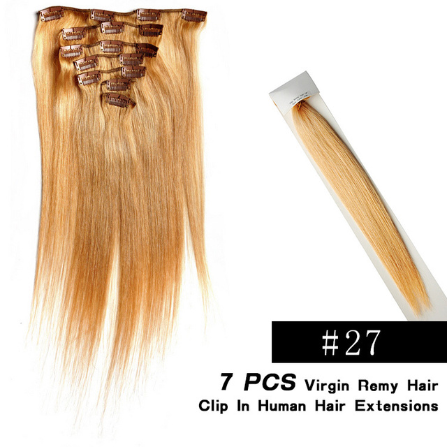 7pcslot Clip In Hair Extensions Natural Woman Hair Color27 Blonde