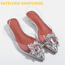 KATELVADI 2.5CM Heels Sandals For Summer Clear PVC Fashion Crystal Buckles Pointed toe Womens K-427