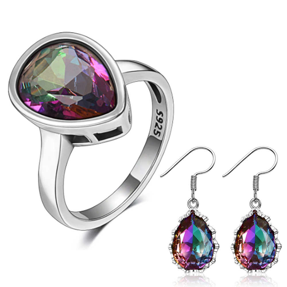 Top Quality 925 Sterling Silver Jewelry Sets Rainbow Topaz Rings Earrings Jewelry Set  For Women Fashion Fine Jewelry Wholesale