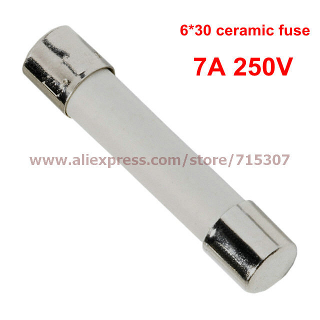 PHISCALE 100pcs 6*30 / 6x30mm Ceramic fuse 7A 250V