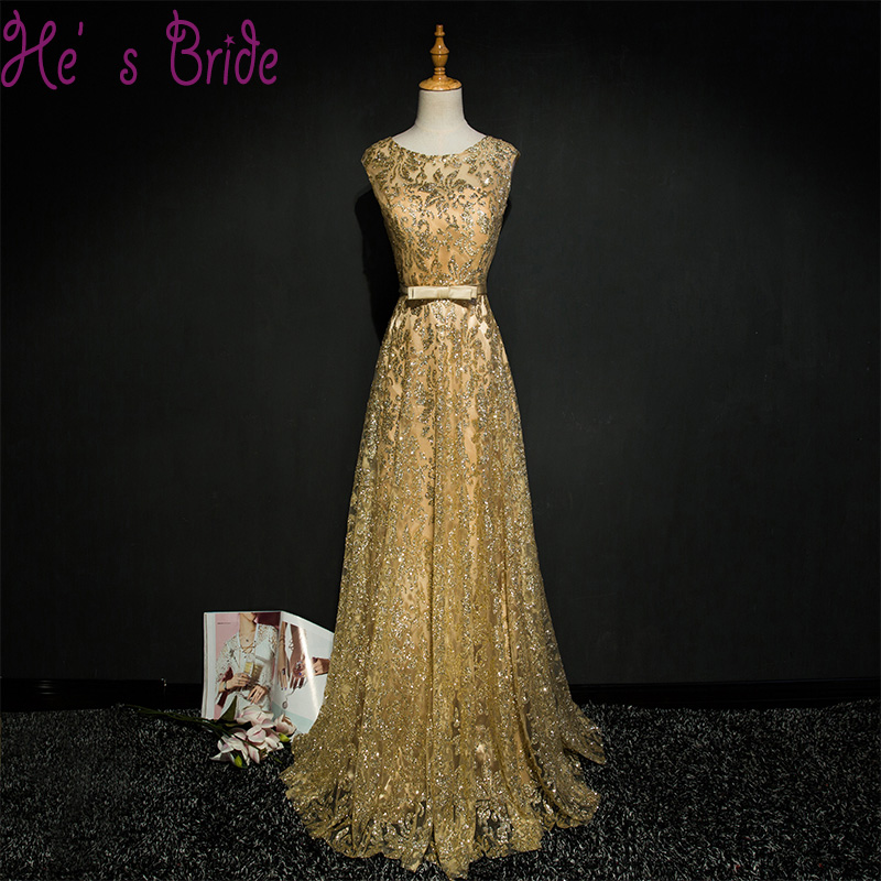 Prom-Dresses Evening-Dress Robe-De-Soiree Sequins Lace-Up Bow-Pattern Gold Party Long-Bling