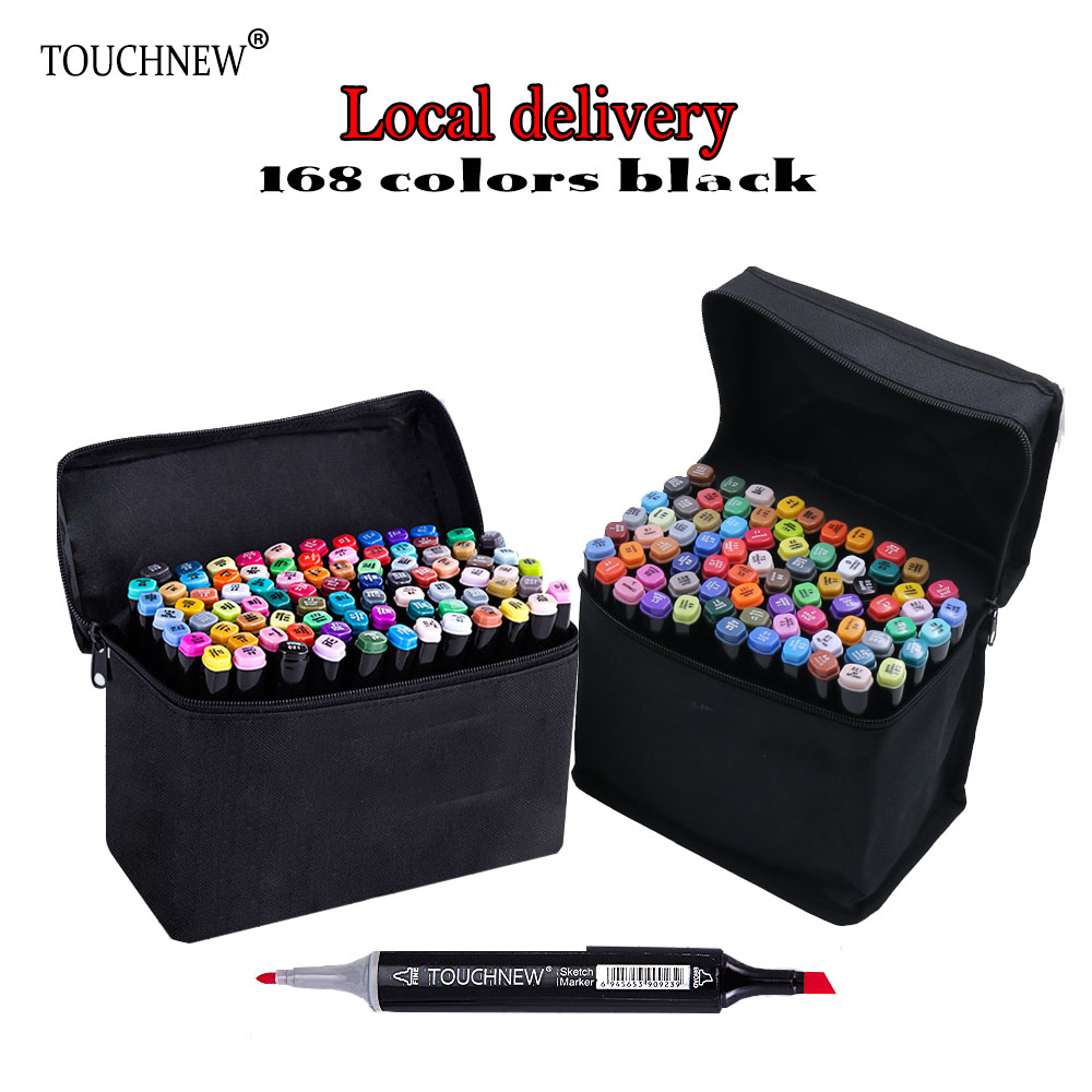 TOUCHNEW 168 black Color Dual Head Art Marker Set Alcohol Sketch Markers Pen for Artist Drawing Manga Design Art Supplier touchnew 36 48 60 72 168colors dual head art markers alcohol based sketch marker pen for drawing manga design supplies