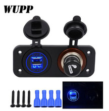 WUPP DC 12/24V Cigarette Lighter With Switches Car Boat Truck Caravans Vehicles Butts Dual 4.2A USB Charging