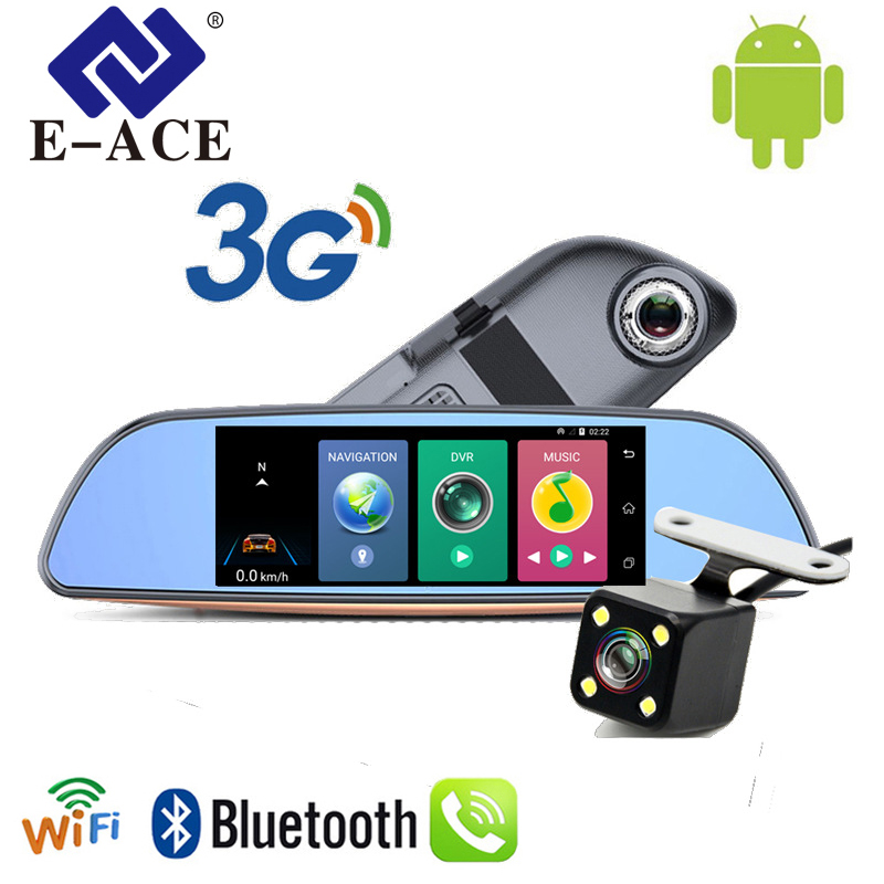 E-ACE Auto 3G 7Europa GPS Navigation Wifi Car Dvrs Android 1080P Navigator Tracher Video Recorder Rearview Mirror For Tourism