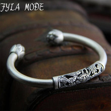 Fyla Mode New Pure S990 Sterling Silver Bracelets For Women Brand Luxury Elegant Lotus Fish Carved Bangle Fine Jewelry 8mm 22.10