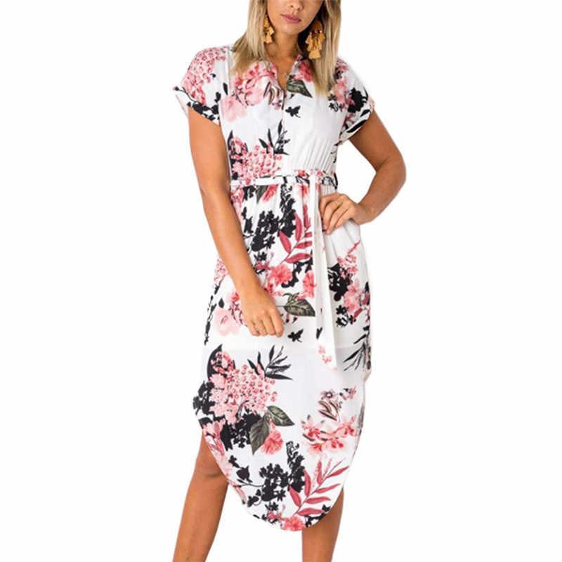 Frauen Floral Print Strand Kleid Mode Boho Sommer Kleider Damen Vintage Verband Bodycon Party Kleid Vestidos Plus Größe S-3XL